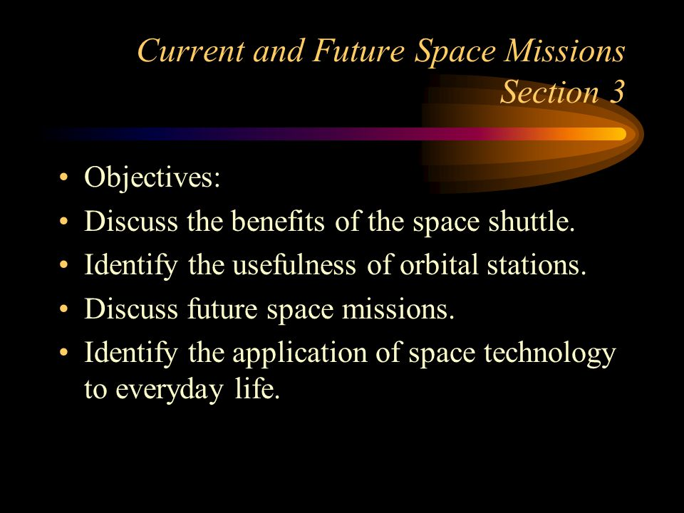 Current and Future Space Missions Section 3