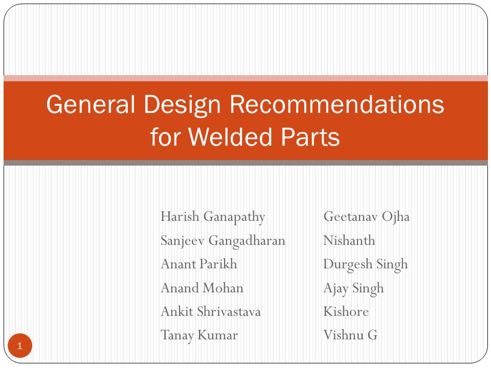 General Design Recommendations for Welded Parts