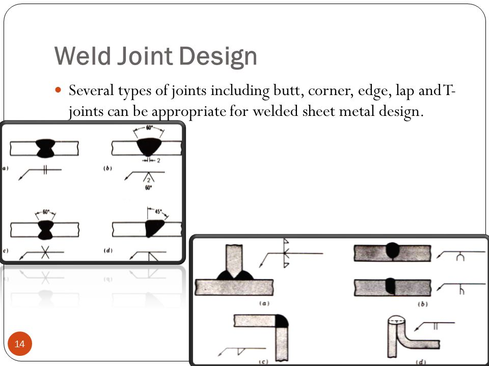 Weld Joint Design Several types of joints including butt, corner, edge, lap and T- joints can be appropriate for welded sheet metal design.