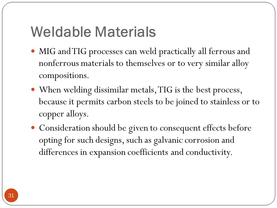 Weldable Materials