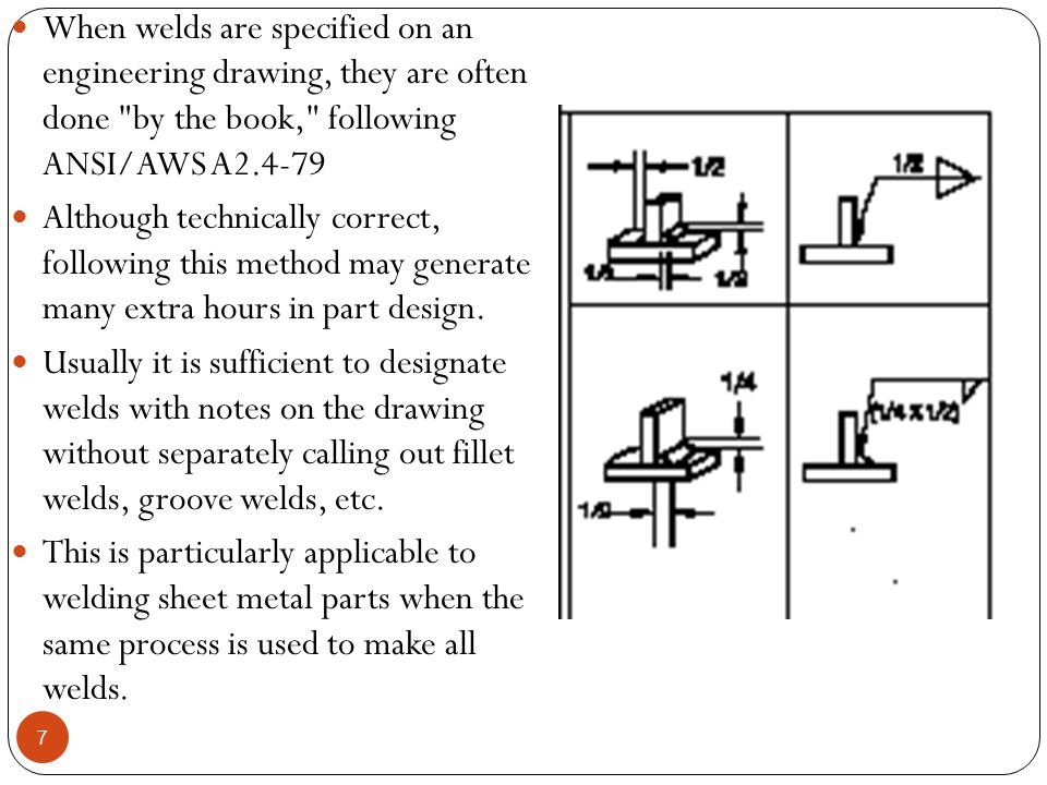 When welds are specified on an engineering drawing, they are often done by the book, following ANSI/AWS A2.4-79
