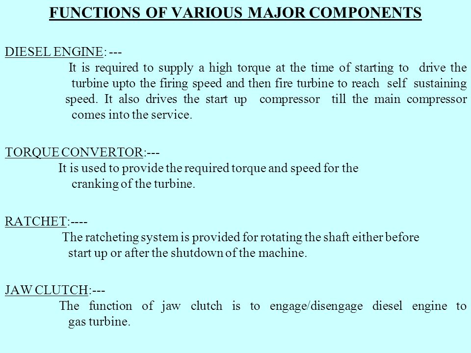 FUNCTIONS OF VARIOUS MAJOR COMPONENTS