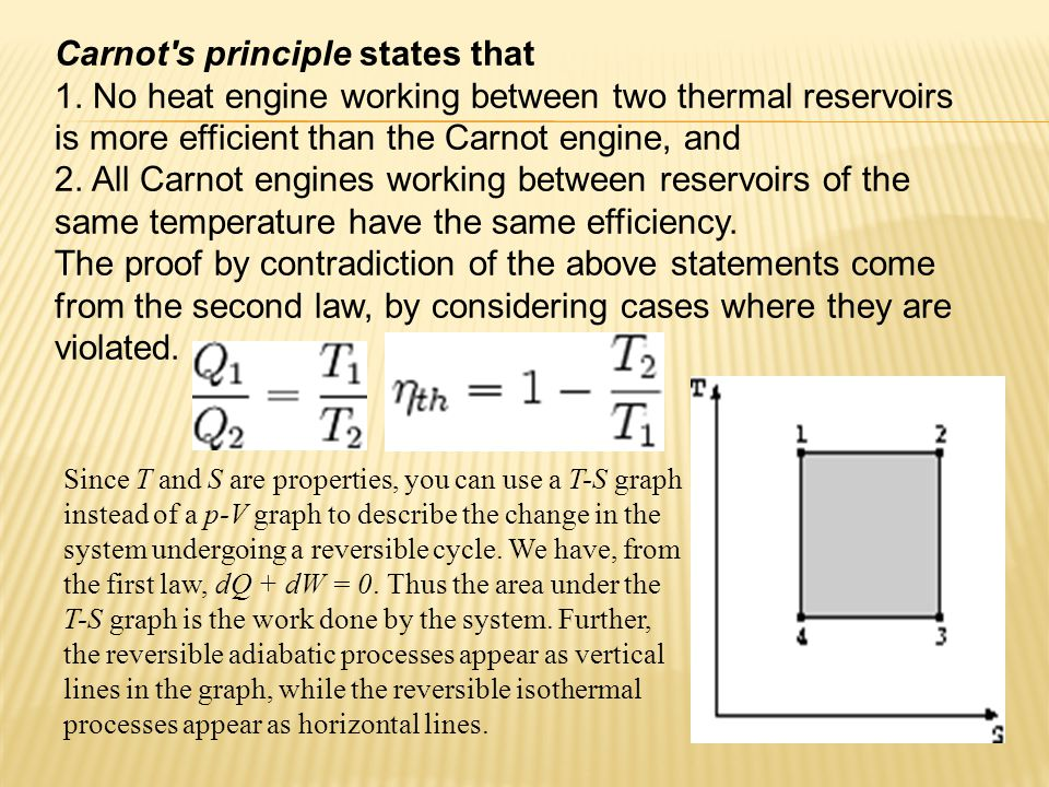 Carnot s principle states that