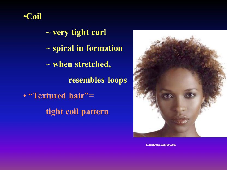 Coil ~ very tight curl ~ spiral in formation ~ when stretched,