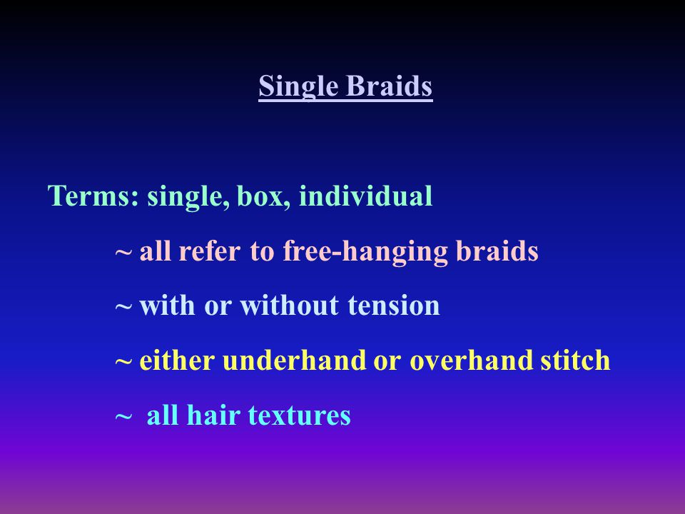 Single Braids Terms: single, box, individual. ~ all refer to free-hanging braids. ~ with or without tension.