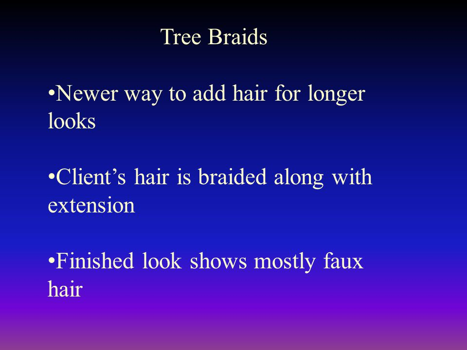 Tree Braids Newer way to add hair for longer looks. Client's hair is braided along with extension.