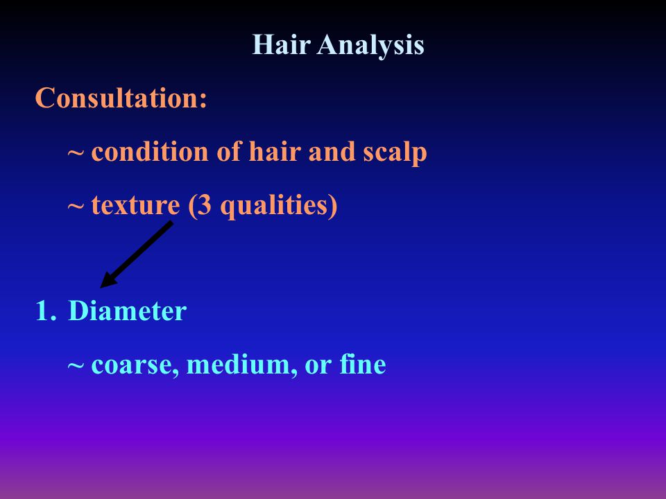 Hair Analysis Consultation: ~ condition of hair and scalp.