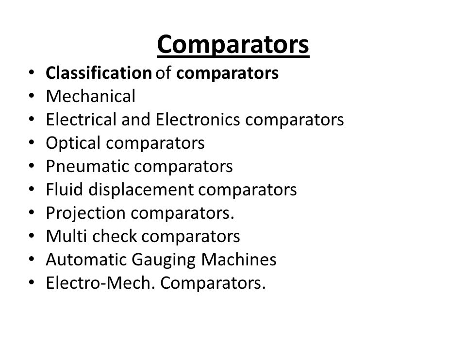 Comparators Classification of comparators Mechanical