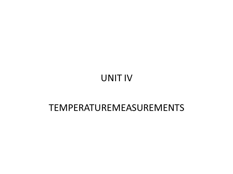 TEMPERATUREMEASUREMENTS