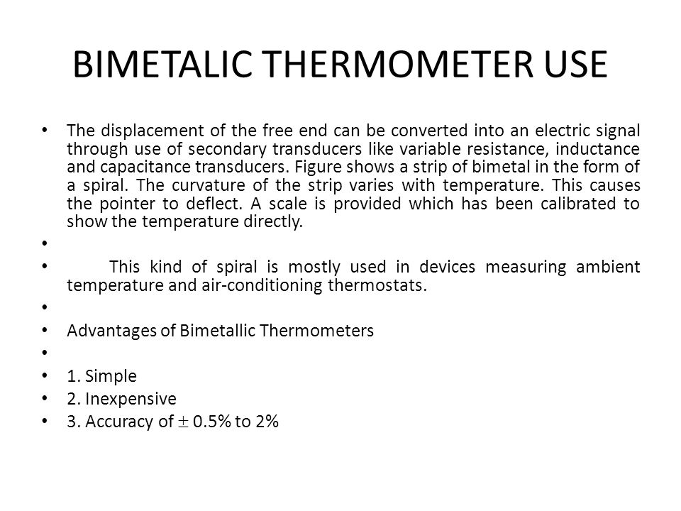 BIMETALIC THERMOMETER USE