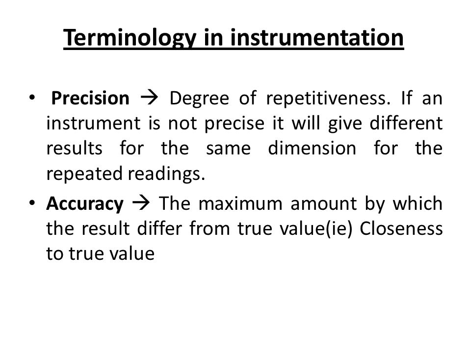 Terminology in instrumentation
