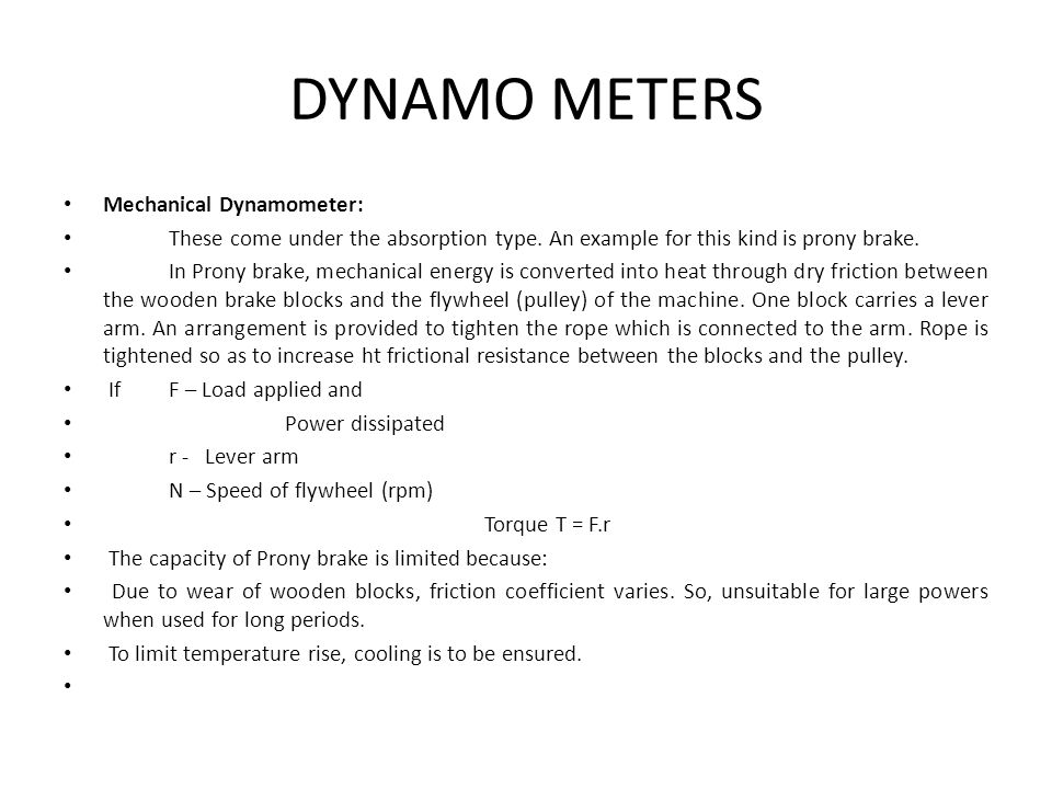 DYNAMO METERS Mechanical Dynamometer:
