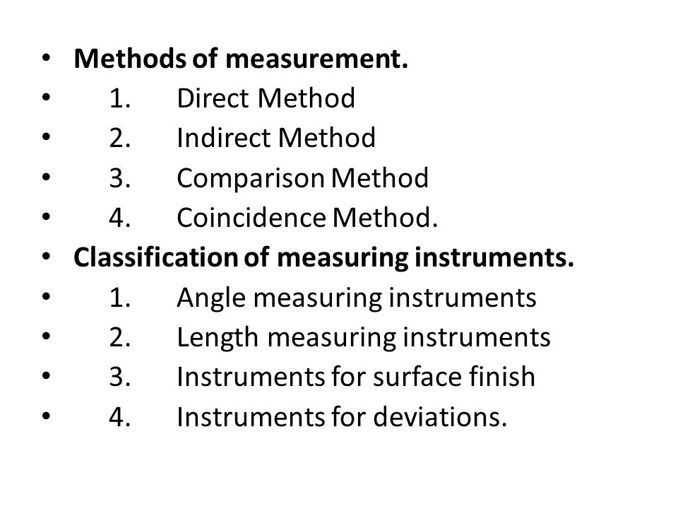Methods of measurement.
