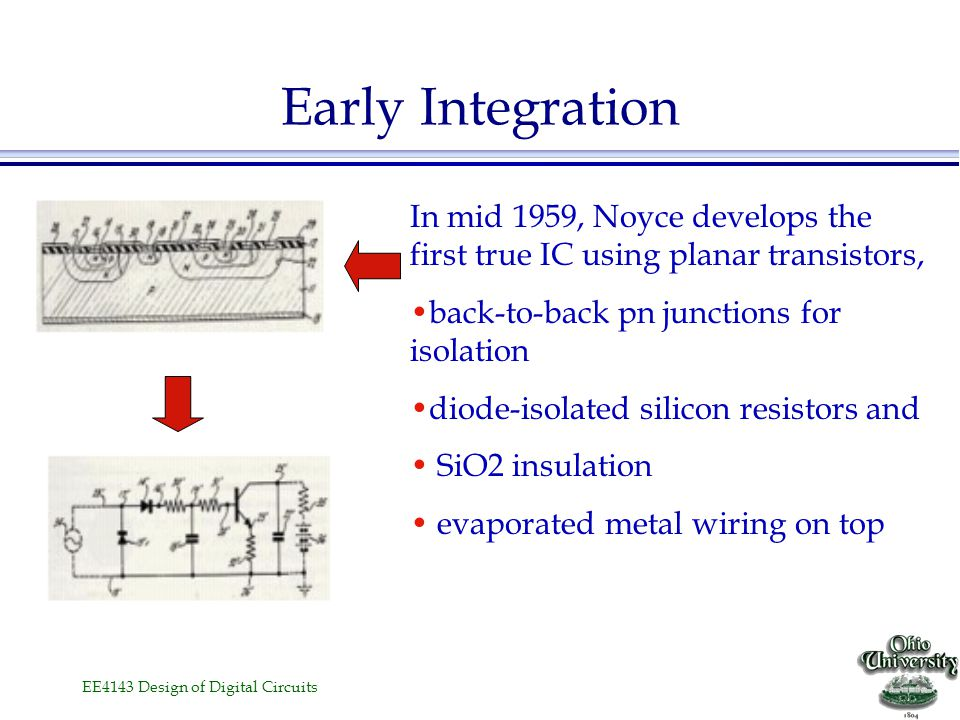 Early Integration In mid 1959, Noyce develops the first true IC using planar transistors, back-to-back pn junctions for isolation.