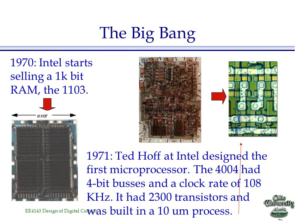 The Big Bang 1970: Intel starts selling a 1k bit RAM, the 1103.