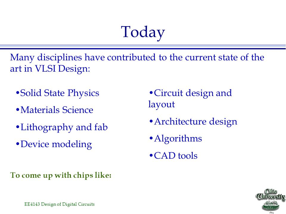 Today Many disciplines have contributed to the current state of the art in VLSI Design: Solid State Physics.