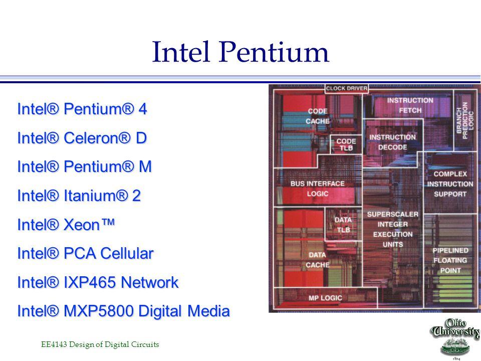 Intel Pentium Intel® Pentium® 4 Intel® Celeron® D Intel® Pentium® M