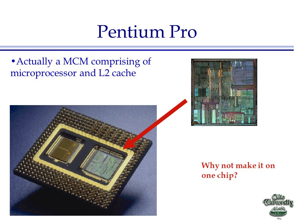 Pentium Pro Actually a MCM comprising of microprocessor and L2 cache
