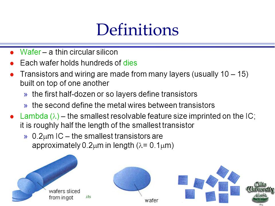 Definitions Wafer – a thin circular silicon