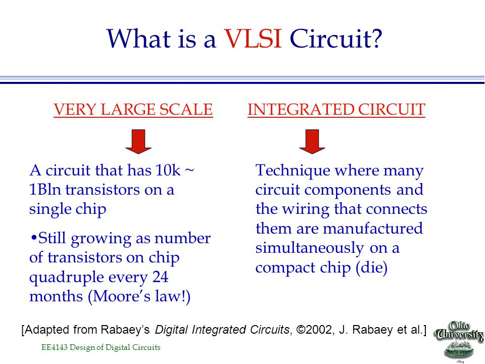 What is a VLSI Circuit VERY LARGE SCALE INTEGRATED CIRCUIT