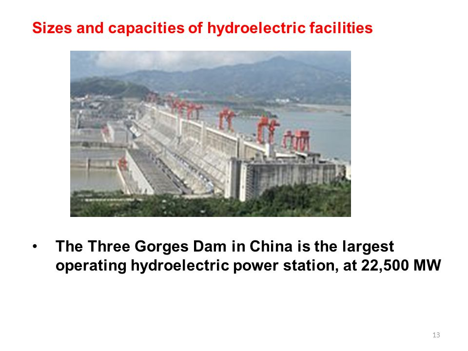 Sizes and capacities of hydroelectric facilities