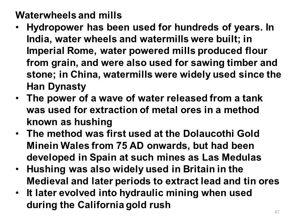 Waterwheels and mills