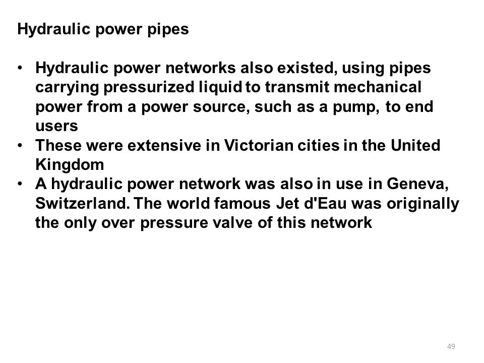 Hydraulic power pipes
