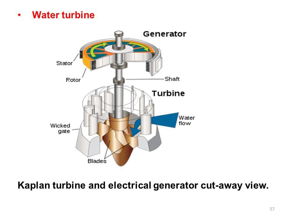 Water turbine Kaplan turbine and electrical generator cut-away view.