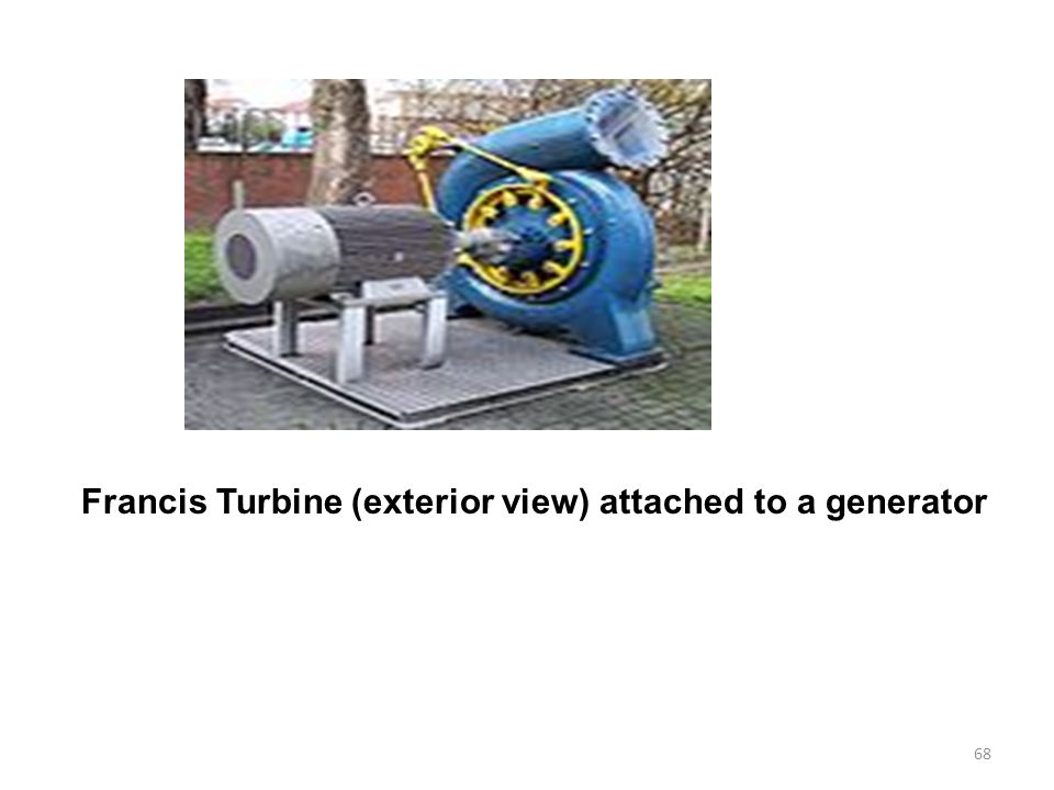 Francis Turbine (exterior view) attached to a generator