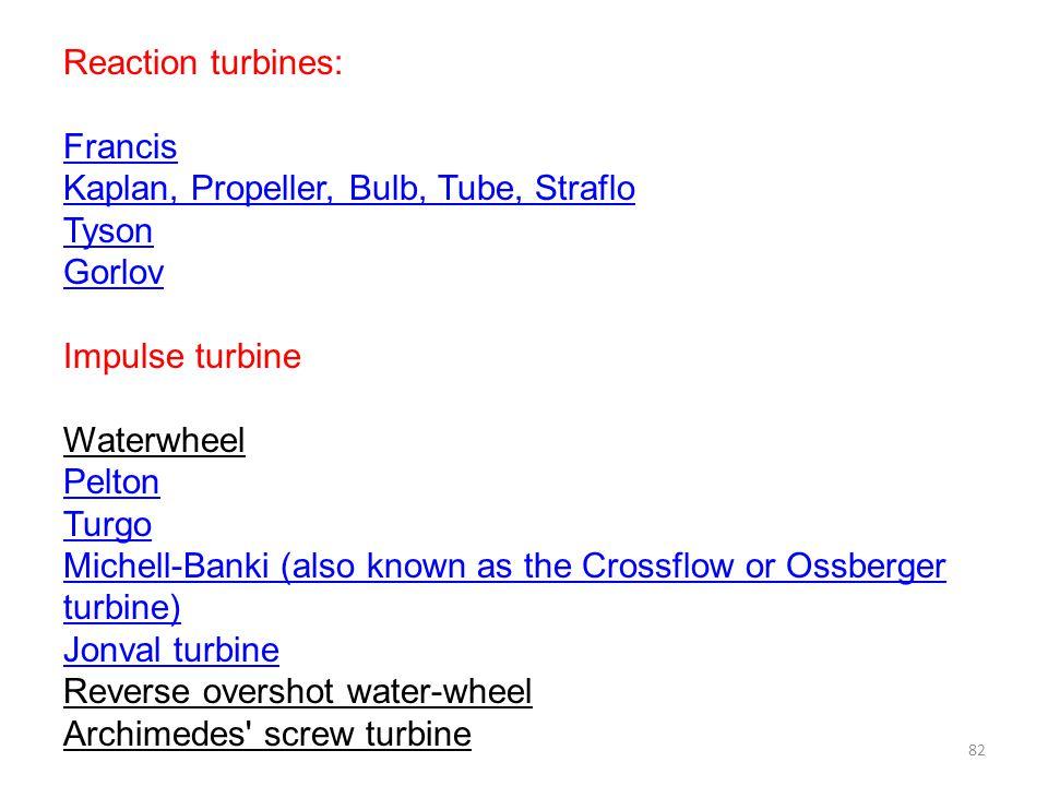 Reaction turbines: Francis. Kaplan, Propeller, Bulb, Tube, Straflo. Tyson. Gorlov. Impulse turbine.