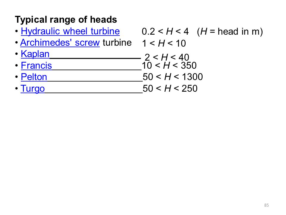 Typical range of heads