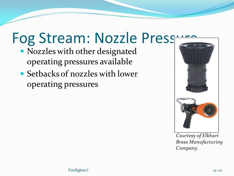 Fog Stream: Nozzle Pressure