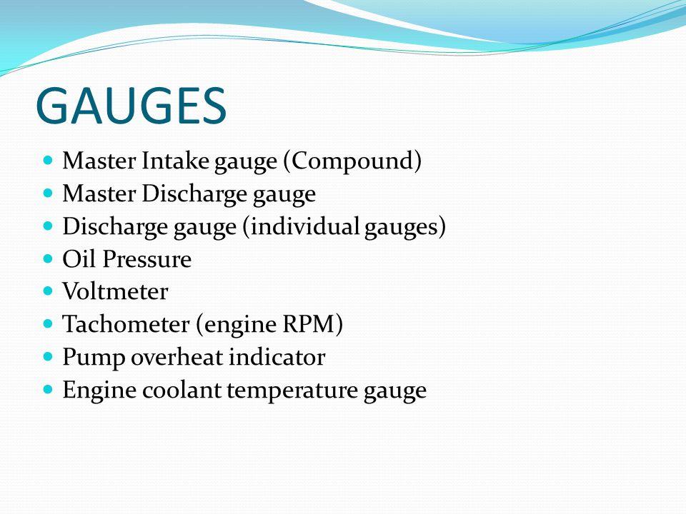 GAUGES Master Intake gauge (Compound) Master Discharge gauge