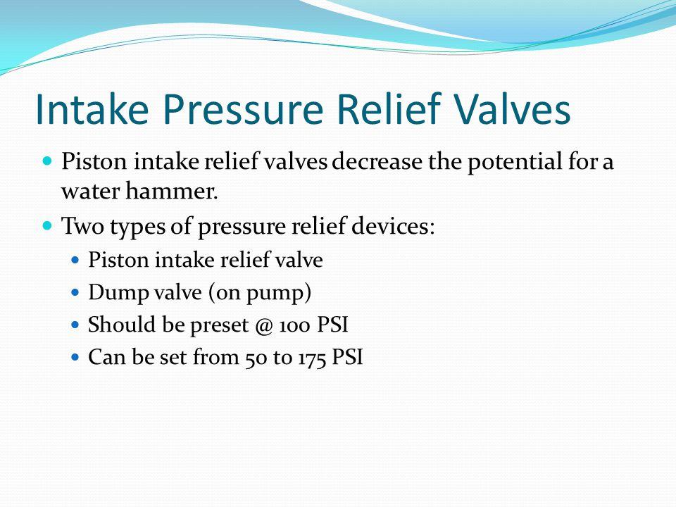 Intake Pressure Relief Valves