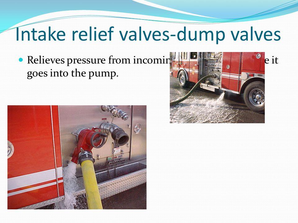 Intake relief valves-dump valves