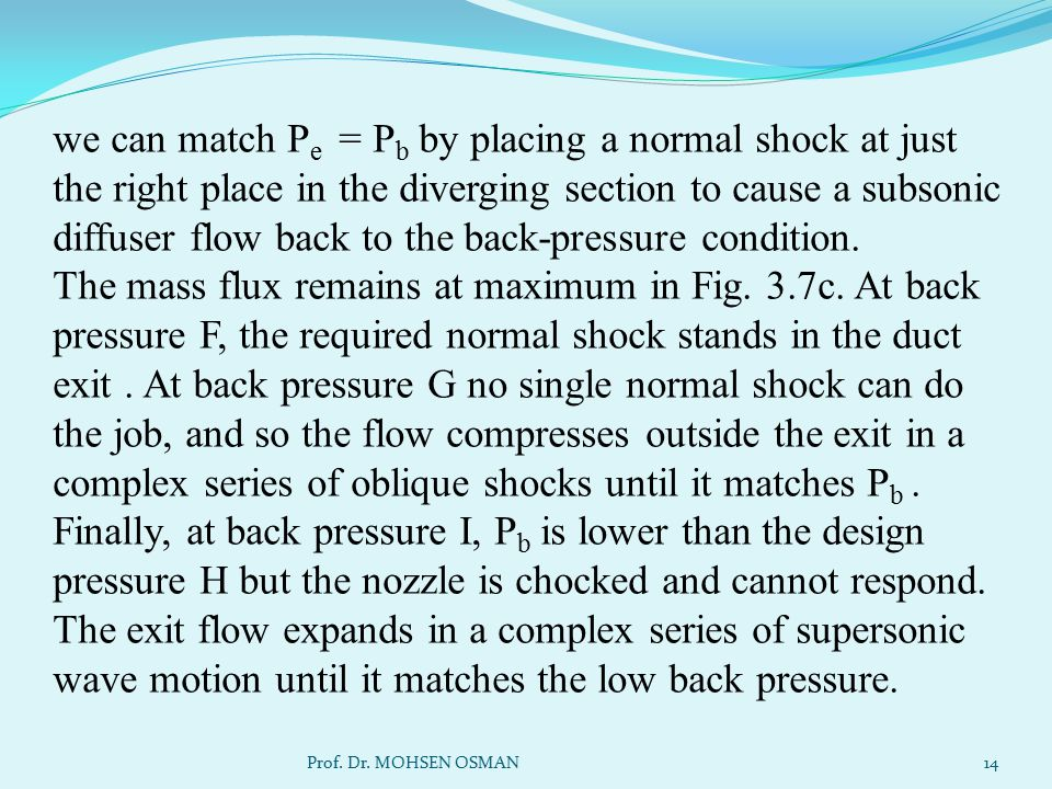 we can match Pe = Pb by placing a normal shock at just the right place in the diverging section to cause a subsonic diffuser flow back to the back-pressure condition. The mass flux remains at maximum in Fig. 3.7c. At back pressure F, the required normal shock stands in the duct exit . At back pressure G no single normal shock can do the job, and so the flow compresses outside the exit in a complex series of oblique shocks until it matches Pb . Finally, at back pressure I, Pb is lower than the design pressure H but the nozzle is chocked and cannot respond. The exit flow expands in a complex series of supersonic wave motion until it matches the low back pressure.