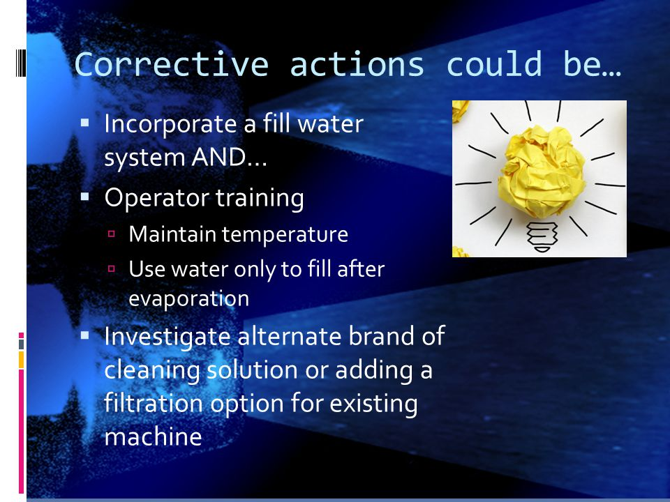Corrective actions could be…