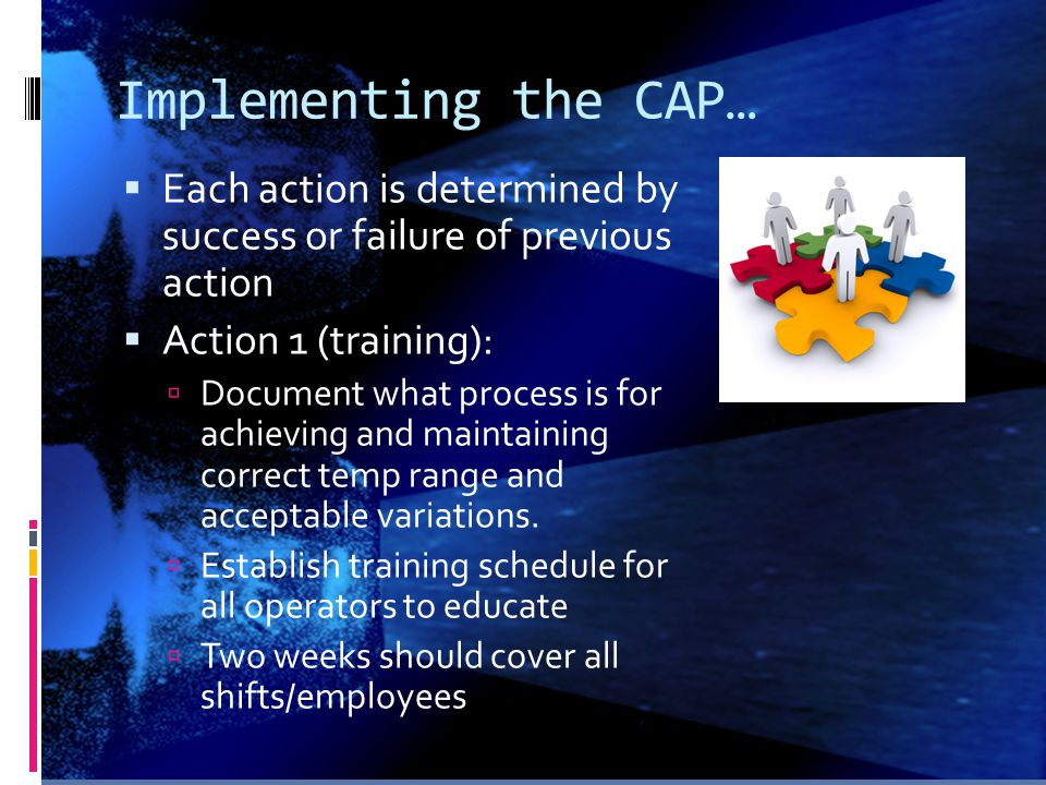 Implementing the CAP… Each action is determined by success or failure of previous action. Action 1 (training):