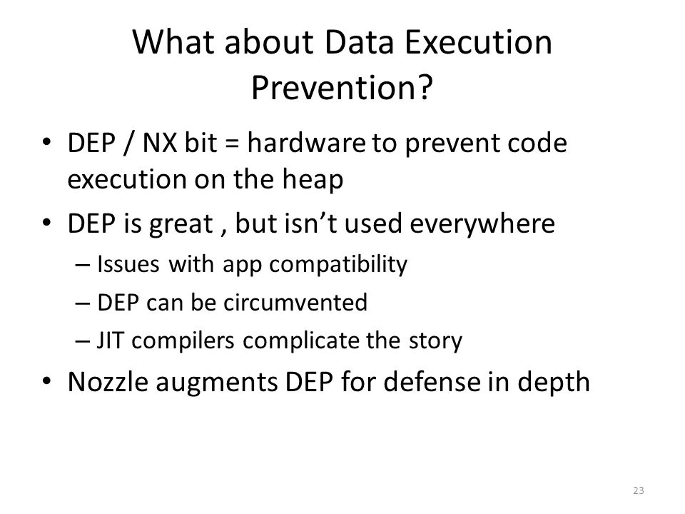 What about Data Execution Prevention