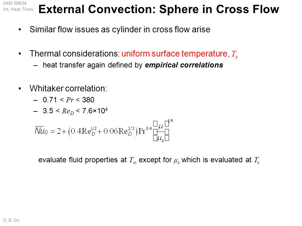 External Convection: Sphere in Cross Flow