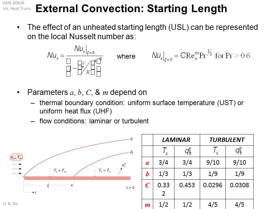 External Convection: Starting Length