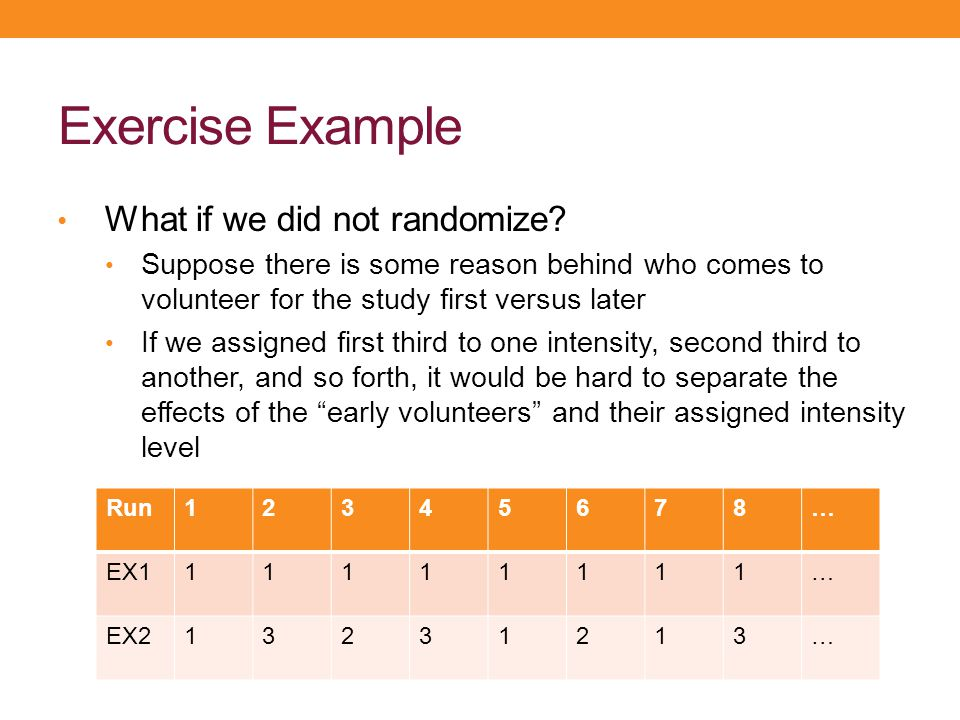 Exercise Example What if we did not randomize