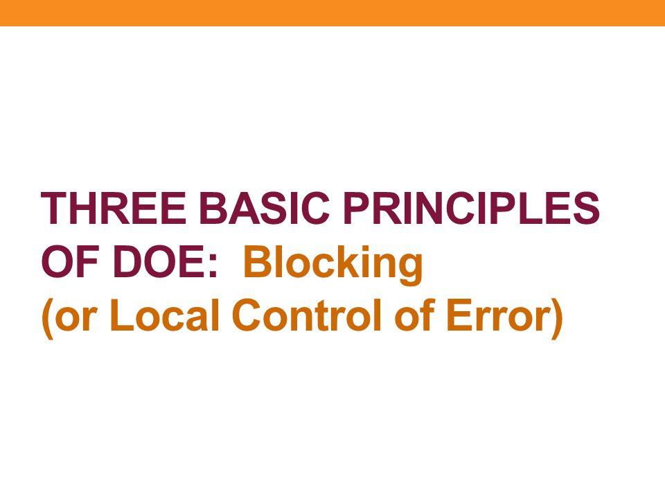 THREE BASIC PRINCIPLES OF DOE: Blocking (or Local Control of Error)