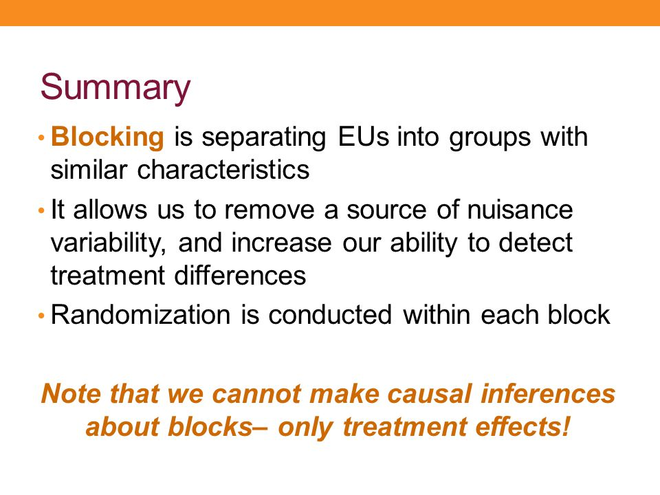 Summary Blocking is separating EUs into groups with similar characteristics.