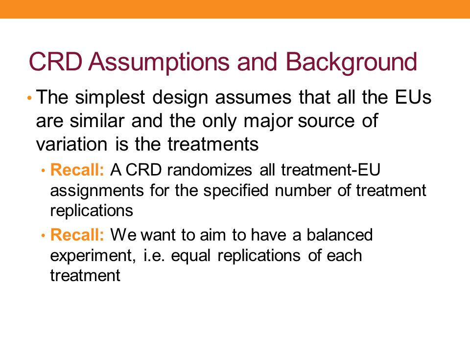 CRD Assumptions and Background