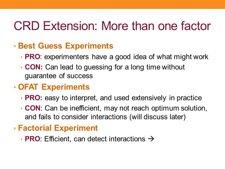 CRD Extension: More than one factor