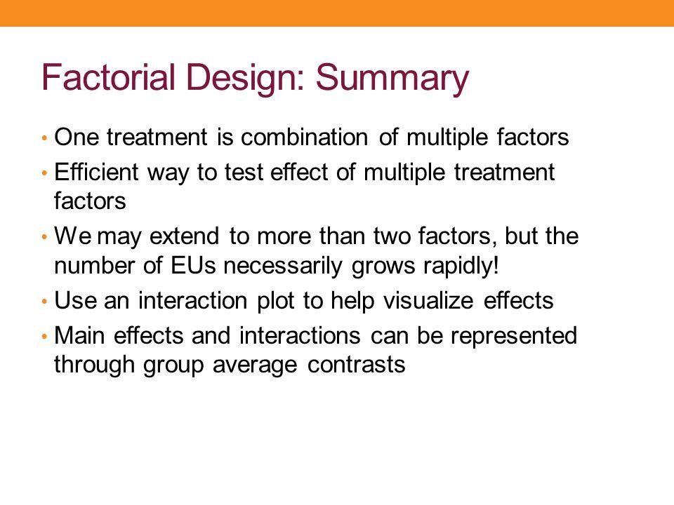 Factorial Design: Summary