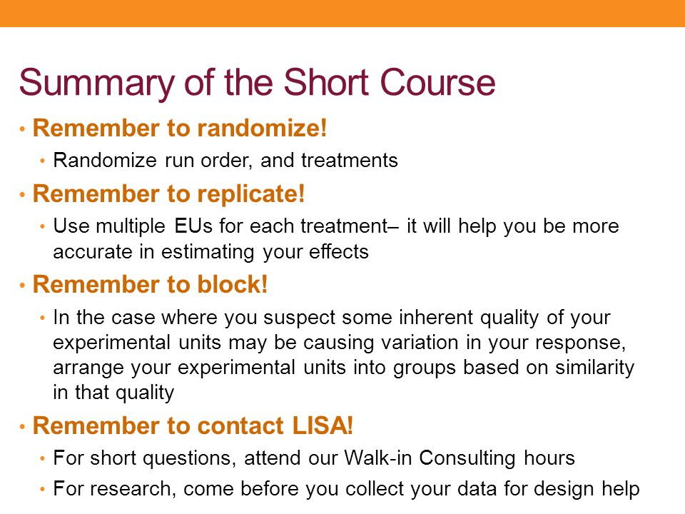 Summary of the Short Course