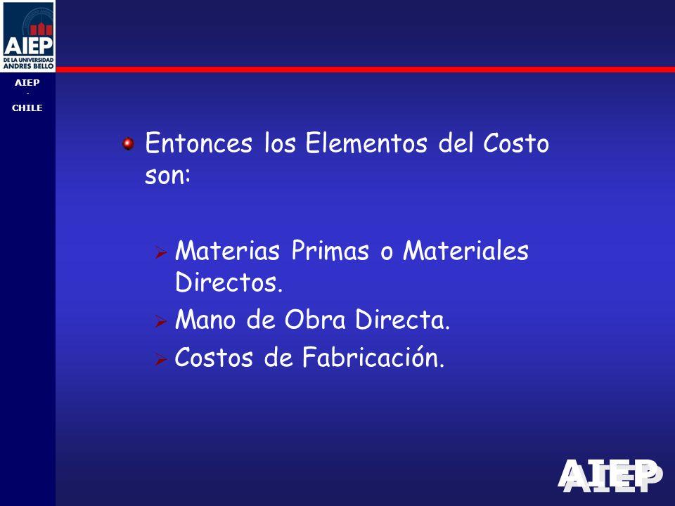 Entonces los Elementos del Costo son: