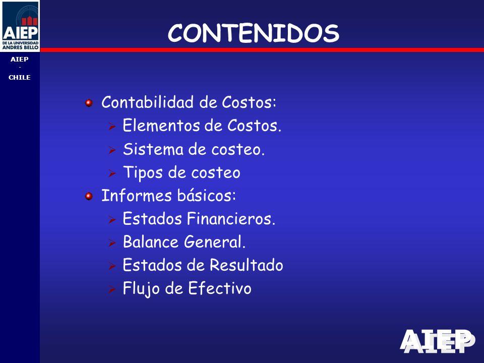 CONTENIDOS Contabilidad de Costos: Elementos de Costos.